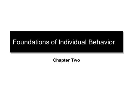 Foundations of Individual Behavior Chapter Two. Biographical Characteristics.