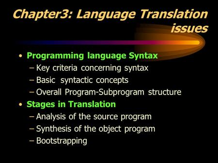Chapter3: Language Translation issues