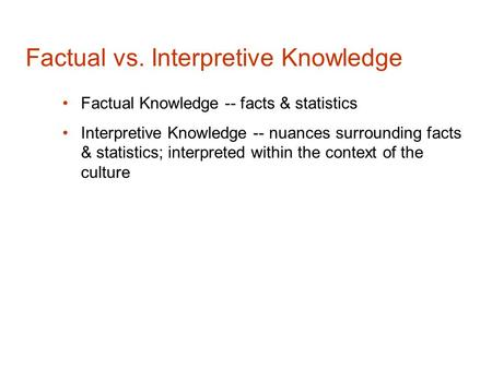 Factual vs. Interpretive Knowledge