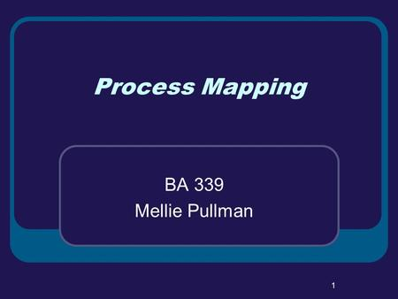 1 Process Mapping BA 339 Mellie Pullman. 2 Objectives Service Process Differences Little's Law Process Analysis & Mapping.