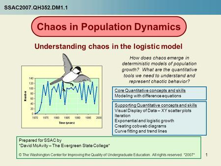 1 Chaos in Population Dynamics Understanding chaos in the logistic model How does chaos emerge in deterministic models of population growth? What are the.