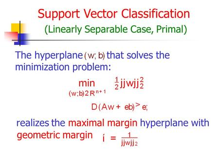 Support Vector Classification (Linearly Separable Case, Primal) The hyperplanethat solves the minimization problem: realizes the maximal margin hyperplane.