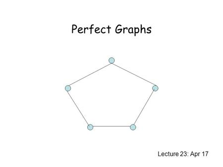 Perfect Graphs Lecture 23: Apr 17. Hard Optimization Problems Independent set Clique Colouring Clique cover Hard to approximate within a factor of coding.