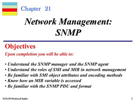 TCP/IP Protocol Suite 1 Chapter 21 Upon completion you will be able to: Network Management: SNMP Understand the SNMP manager and the SNMP agent Understand.