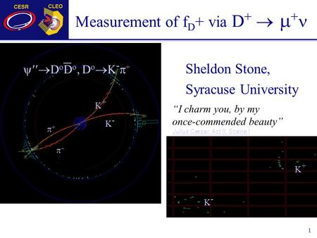 "1 Measurement of f D + via D +   + Sheldon Stone, Syracuse University  D o D o, D o  K -  + K-K- K+K+ ++  K-K- K+K+ ""I charm you, by my once-commended."