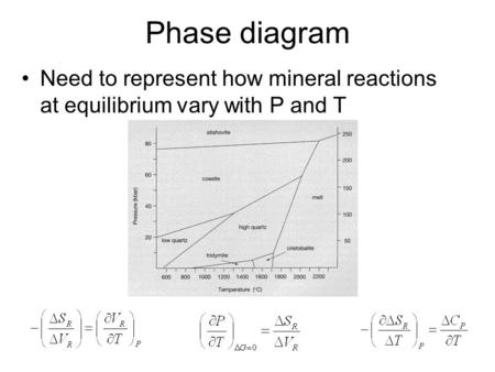Phase diagram Need to represent how mineral reactions at equilibrium vary with P and T.