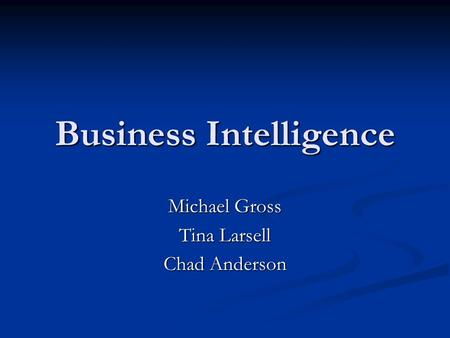 Business Intelligence Michael Gross Tina Larsell Chad Anderson.