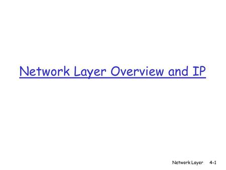 Network Layer Overview and IP