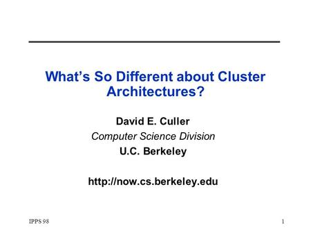Now and beyond workshop on clusters and computational - Div computer science ...