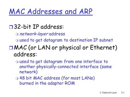 5: DataLink Layer5-1 MAC Addresses and ARP r 32-bit IP address: m network-layer address m used to get datagram to destination IP subnet r MAC (or LAN or.
