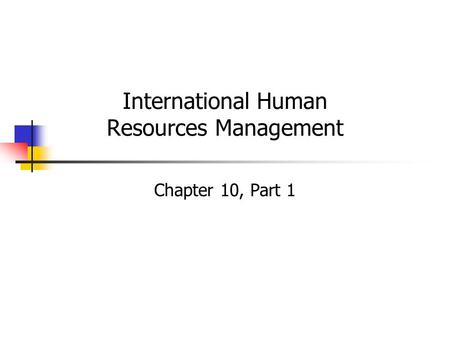 International Human Resources Management