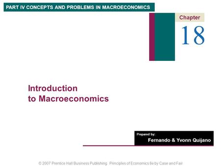 18 Introduction to Macroeconomics