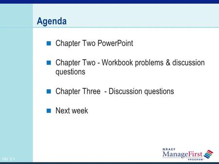 Agenda Chapter Two PowerPoint
