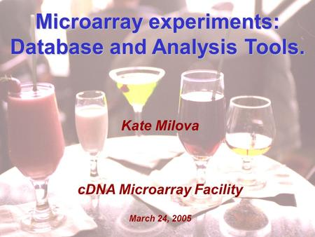 Kate Milova MolGen retreat March 24, 2005 1 Microarray experiments: Database and Analysis Tools. Kate Milova cDNA Microarray Facility March 24, 2005.