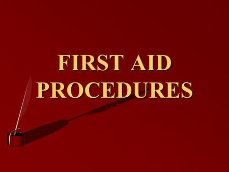 FIRST AID PROCEDURES FIRST AID DEFINED 2 )IMMEDIATE AND TEMPORARY CARE GIVEN TO THE VICTIM OF AN ACCIDENT OR SUDDEN ILLNESS )KEY WORDS )IMMEDIATE / TEMPORARY.