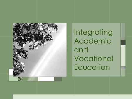 Integrating Academic and Vocational Education. What is Academic Integration? Blending CTE skills and competencies with academic standards to bring relevance.