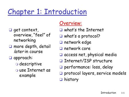 "Introduction1-1 Chapter 1: Introduction  get context, overview, ""feel"" of networking  more depth, detail later in course  approach: m descriptive m."