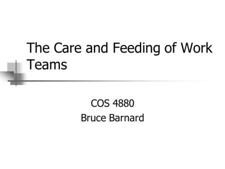 The Care and Feeding of Work Teams COS 4880 Bruce Barnard.