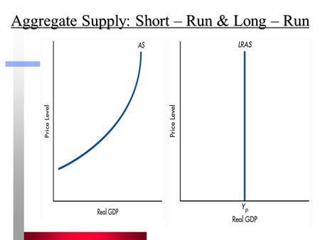 1 Aggregate Supply: Short – Run & Long – Run. 2 Short-run Aggregate Supply Aggregate Supply (AS) shows the quantity of real GDP produced at different.