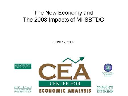 The New Economy and The 2008 Impacts of MI-SBTDC June 17, 2009.