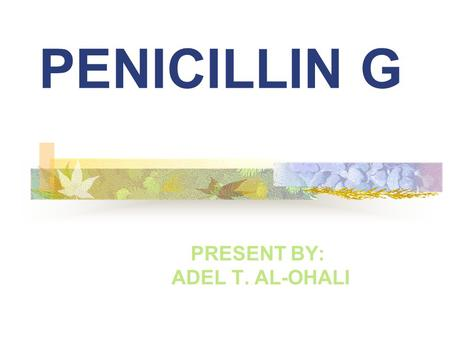 PENICILLIN G PRESENT BY: ADEL T. AL-OHALI. Introduction: Penicillin G is one of the natural penicillins. it discover at 1929 and did not use until 1941.