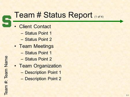 0-1 Team # Status Report (1 of 4) Client Contact –Status Point 1 –Status Point 2 Team Meetings –Status Point 1 –Status Point 2 Team Organization –Description.
