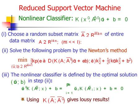 Reduced Support Vector Machine