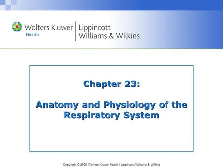 Copyright © 2009 Wolters Kluwer Health | Lippincott Williams & Wilkins Chapter 23: Anatomy and Physiology of the Respiratory System.