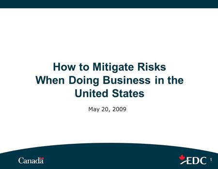 1 How to Mitigate Risks When Doing Business in the United States May 20, 2009.