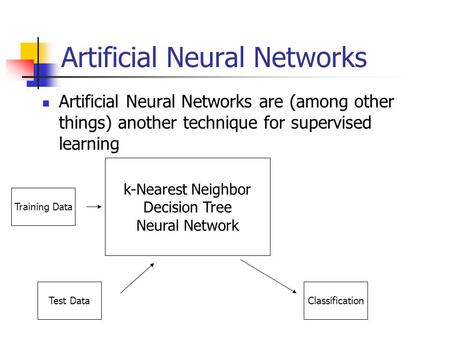 Artificial Neural Networks Artificial Neural Networks are (among other things) another technique for supervised learning k-Nearest Neighbor Decision Tree.
