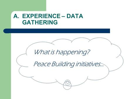 A.EXPERIENCE – DATA GATHERING What is happening? Peace Building initiatives…