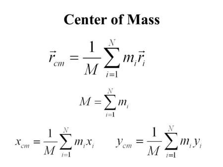 Center of Mass. Motion of the Center of Mass The center of mass of a system moves as if all of the mass of the system were concentrated at that point.