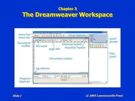 © 2005 Lawrenceville Press Slide 1 Chapter 3 The Dreamweaver Workspace.