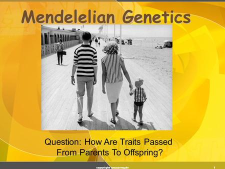 1 Mendelelian Genetics copyright cmassengale Question: How Are Traits Passed From Parents To Offspring?