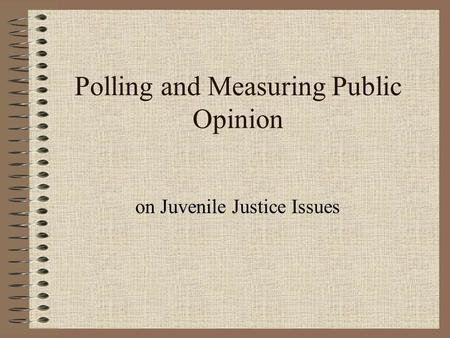 Polling and Measuring Public Opinion on Juvenile Justice Issues.