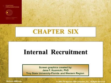 Internal Recruitment CHAPTER SIX Screen graphics created by: