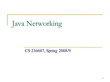1 Java Networking CS 236607, Spring 2008/9. 2 Today's Menu Networking Basics  TCP, UDP, Ports, DNS, Client-Server Model TCP/IP in Java Sockets URL 