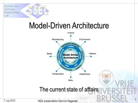 7 July 2003 MDA presentation Dennis Wagelaar 1 Model-Driven Architecture The current state of affairs.