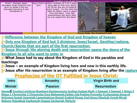 Prophecies <strong>of</strong> the OT Fulfilled in Jesus Christ: AncestryVirgin Birth <strong>and</strong> Childhood PassionMinistr y Resurrection GenesisGenesis Exodus Leviticus <strong>Numbers</strong>.