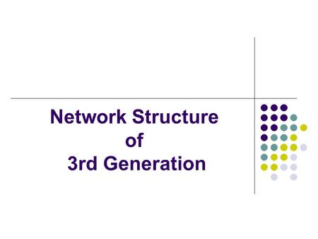 Network Structure of 3rd Generation. Content What is the 3G ? What are the features of 3G? Radio interfaces of 3G W-CDMA 1. W-CDMA 2. CDMA2000 3. UMTS.