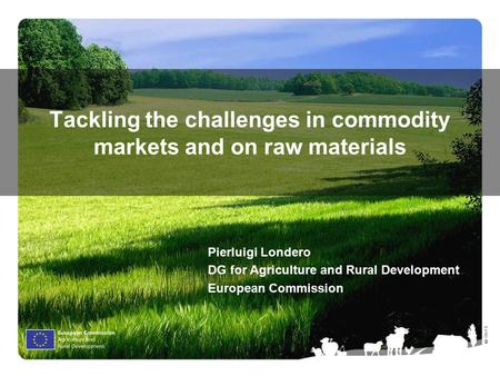 Ⓒ Olof S. Tackling the challenges in commodity markets and on raw materials Pierluigi Londero DG for Agriculture and Rural Development European Commission.