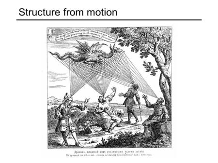 Structure from motion. Multiple-view geometry questions Scene geometry (structure): Given 2D point matches in two or more images, where are the corresponding.