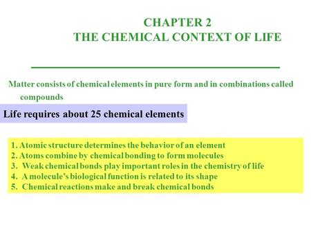 CHAPTER 2 THE CHEMICAL CONTEXT OF LIFE Matter consists of chemical elements in pure form and in combinations called compounds 1. Atomic structure determines.
