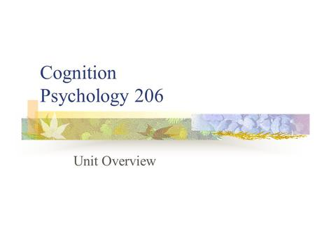 Cognition Psychology 206 Unit Overview. Don Hine: Contact Details Office: 46 Psychology Phone: 6773-2731   Internet:
