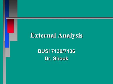 External Analysis BUSI 7130/7136 Dr. Shook. What's an Environment? What's an Environment? Analyzing the Industry Analyzing the Industry v Five Forces.