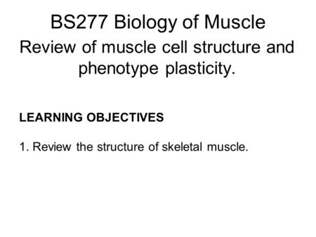 Review of muscle cell structure and phenotype plasticity.