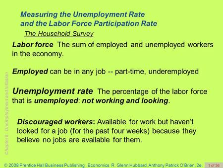 Chapter 8: Unemployment and Inflation © 2008 Prentice Hall Business Publishing Economics R. Glenn Hubbard, Anthony Patrick O'Brien, 2e. 1 of 36 Labor force.