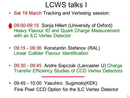 1 LCWS talks I Sat 19 March Tracking and Vertexing session: 09:00-09:15 Sonja Hillert (University of Oxford) Heavy Flavour ID and Quark Charge Measurement.