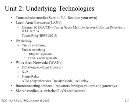 TDC 463-98-501/502, Summer II 20022-1 Unit 2: Underlying Technologies Transmission media (Section 3.1. Read on your own) Local Area Networks (LANs) –Ethernet.