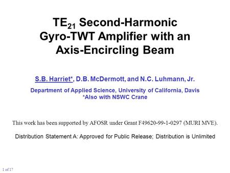 TE 21 Second-Harmonic Gyro-TWT Amplifier with an Axis-Encircling Beam S.B. Harriet*, D.B. McDermott, and N.C. Luhmann, Jr. Department of Applied Science,
